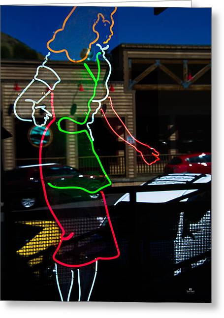 Neon Reflections Greeting Card by Russ Harris