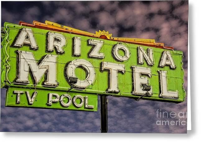Neon Sign Arizona Motel Greeting Card by Henry Kowalski