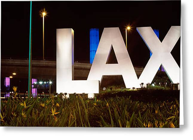 Neon Sign At An Airport, Lax Airport Greeting Card by Panoramic Images