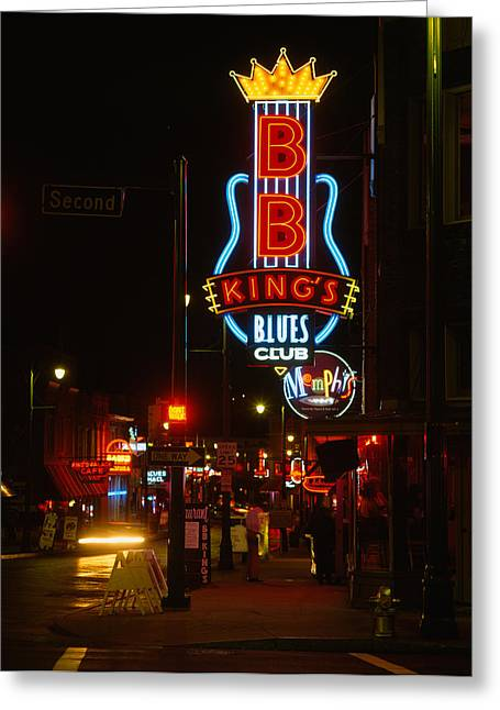 Neon Sign Lit Up At Night, B. B. Kings Greeting Card by Panoramic Images