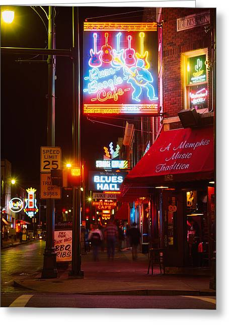 Neon Sign Lit Up At Night In A City Greeting Card by Panoramic Images