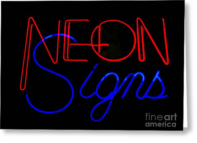 Neon Signs In Black Greeting Card by Kelly Awad