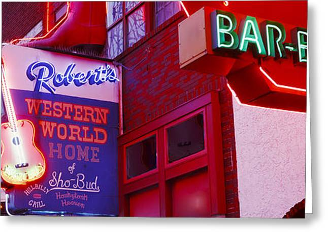 Neon Signs On Building, Nashville Greeting Card