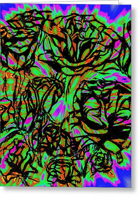 Neon Spiked Roses On Parade Greeting Card by Tiffany Selig