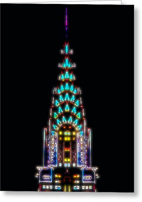 Neon Spires Greeting Card by Az Jackson