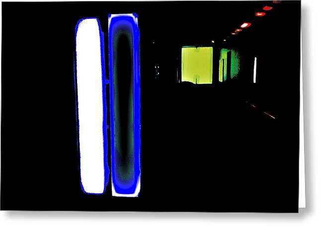 Neon Subway Tunnel Greeting Card