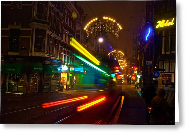 Greeting Card featuring the photograph Neon Tram Leidestraat by Jonah  Anderson