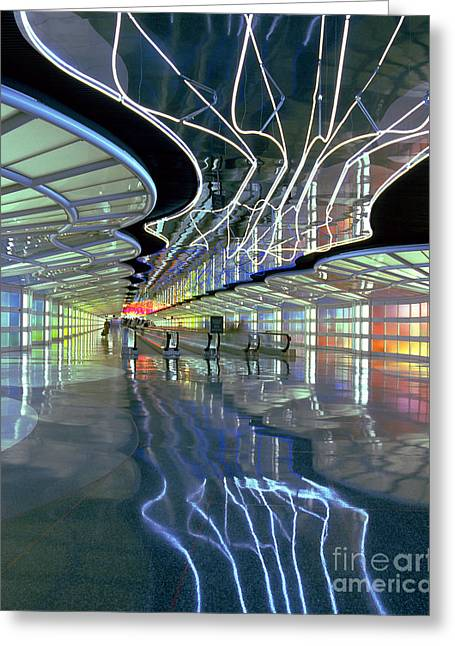 Neon Walkway At Ohare Greeting Card