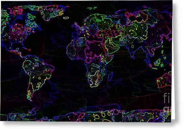 Neon World Map Greeting Card by Zaira Dzhaubaeva