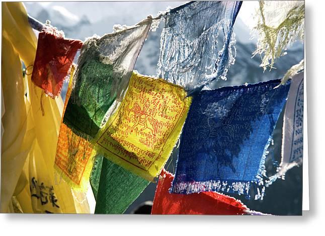 Nepal, Gokyo Prayer Flags On The Summit Greeting Card by David Noyes