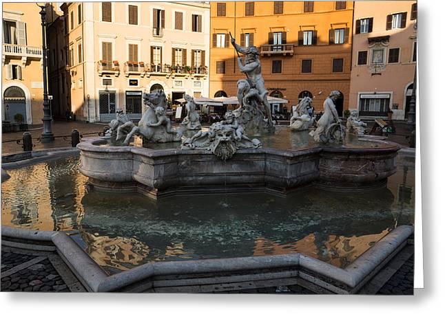 Greeting Card featuring the photograph Neptune Fountain Rome Italy by Georgia Mizuleva
