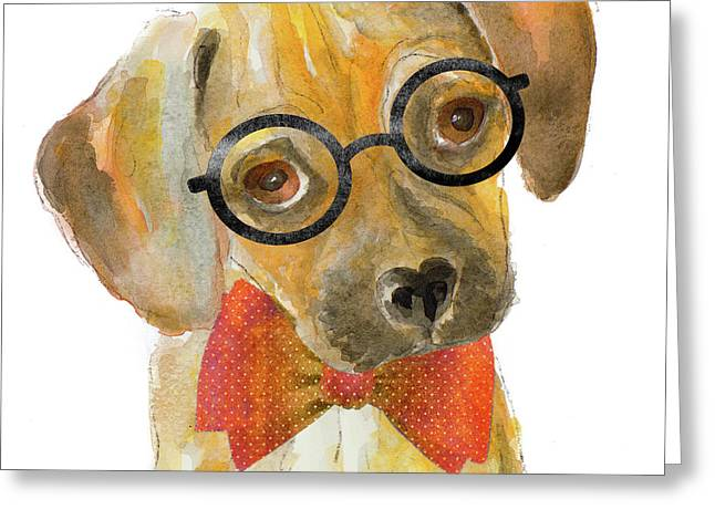 Nerd Pup Square Greeting Card