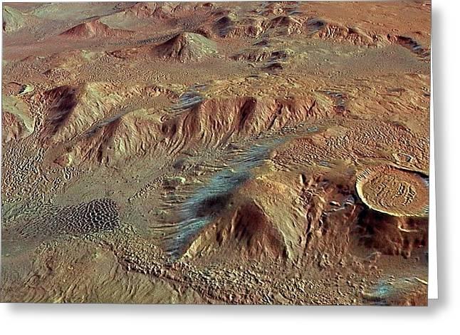 Nereidum Mountains Greeting Card by European Space Agency/dlr/fu Berlin (g. Neukum)