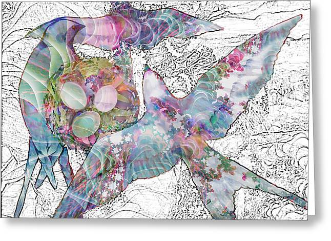 Greeting Card featuring the digital art Nesting 3 by Ursula Freer