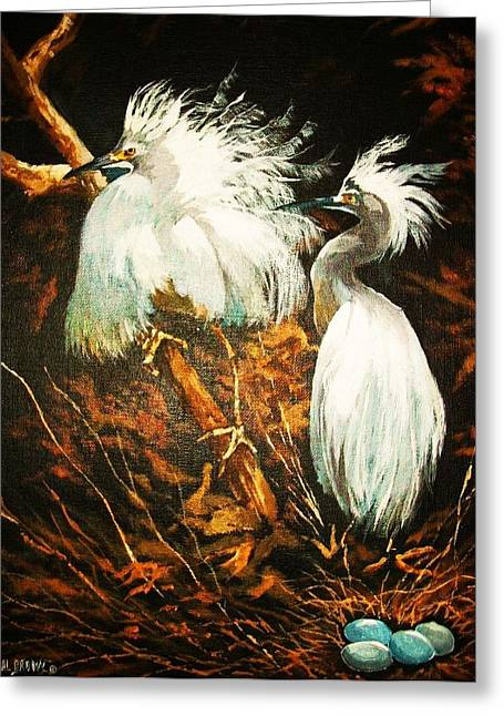 Nesting Egrets Greeting Card by Al Brown