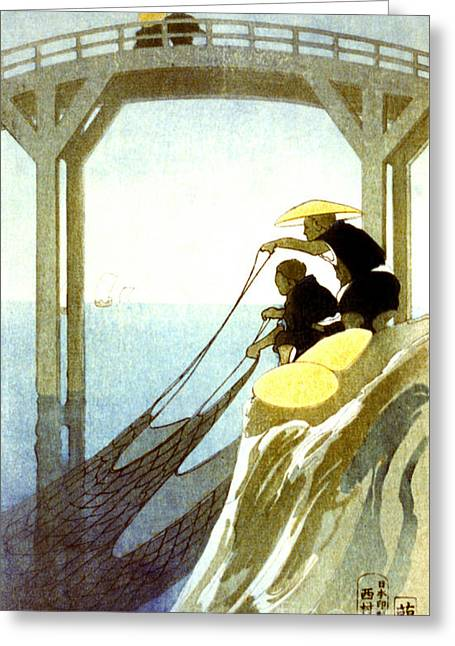 Net Fishing 1913 Greeting Card by Padre Art