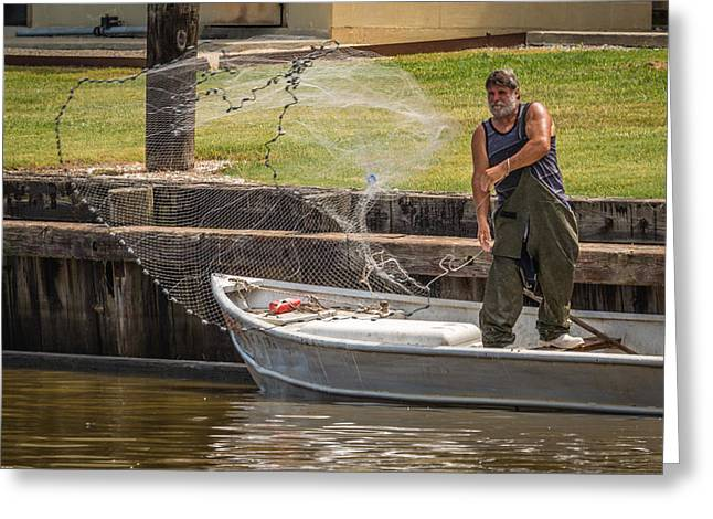 Net Fishing In Delcambre La Greeting Card