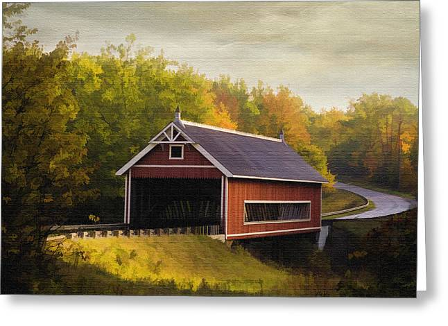Netcher Road Covered Bridge Greeting Card by Mary Timman