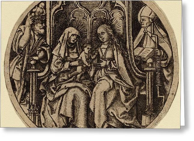 Netherlandish 15th Century, Madonna And Child With Saints Greeting Card