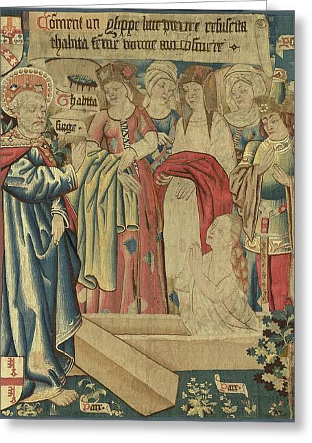 Netherlandish 15th Century, The Raising Of Tabitha Greeting Card