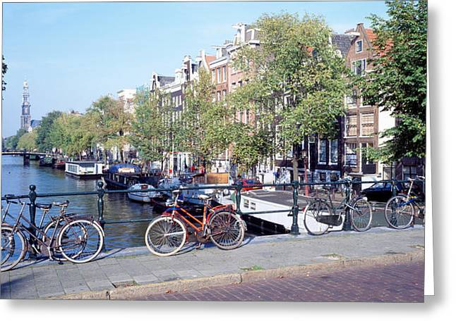 Netherlands, Amsterdam, Bicycles Greeting Card by Panoramic Images