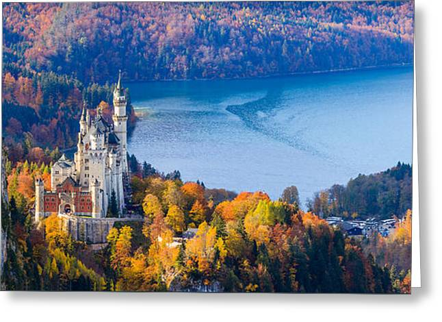 Neuschwanstein And Hohenschwangau Castle In Autumn Colours Greeting Card