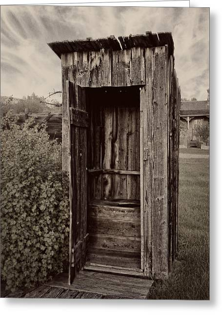 Nevada City Ghost Town Outhouse - Montana Greeting Card by Daniel Hagerman