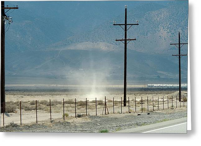 Nevada Dust Devil Greeting Card by Jayne Wilson