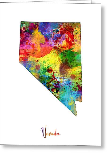 Nevada Map Greeting Card by Michael Tompsett