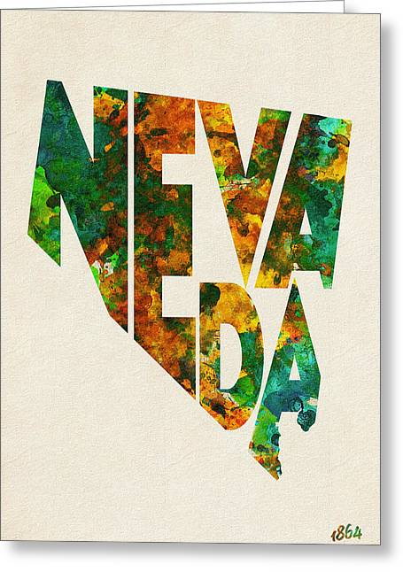 Nevada Typographic Watercolor Map Greeting Card