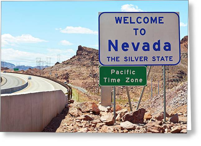 Nevada Welcome Sign Near Hoover Dam Greeting Card