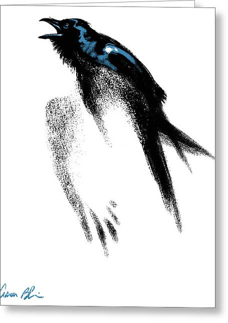 Greeting Card featuring the digital art Nevermore  - Raven by Aaron Blaise