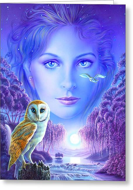 New Age Owl Girl Greeting Card by Andrew Farley