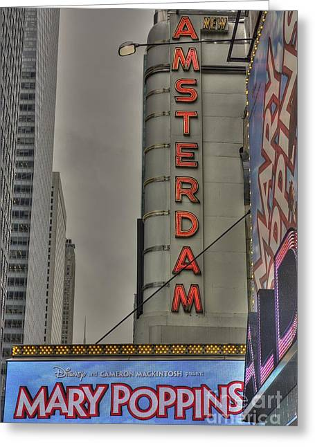 New Amsterdam Theater Greeting Card by David Bearden
