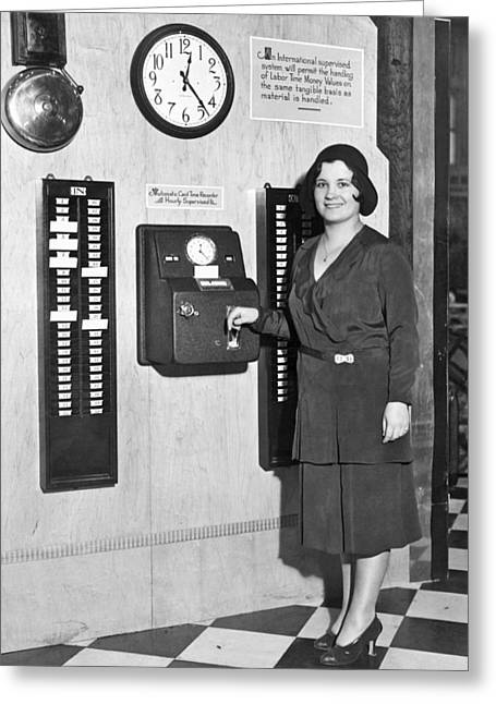 New Automatic Time Clock Greeting Card by Underwood Archives