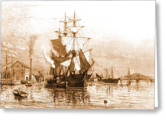 New Bedford Harbor 1903 Greeting Card by Padre Art