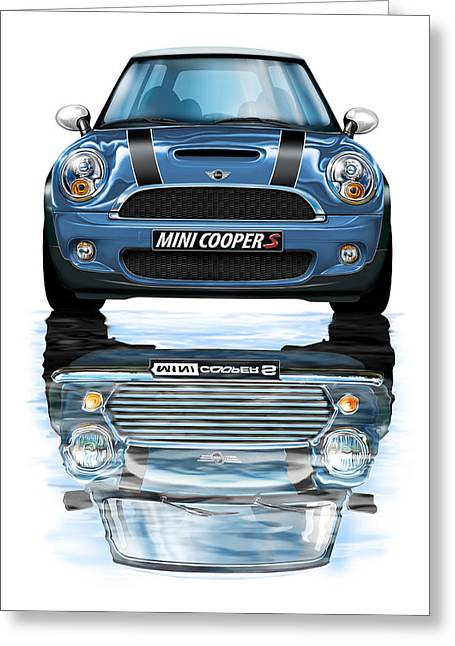 New Bmw Mini Cooper S Blue Greeting Card by David Kyte