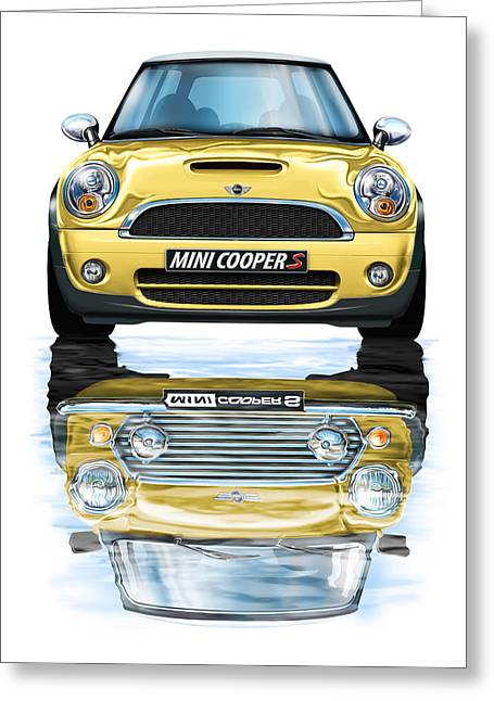 New Bmw Mini Cooper S Yellow Greeting Card