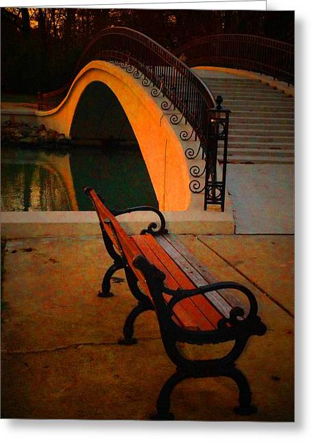 New Bridge And Bench Greeting Card