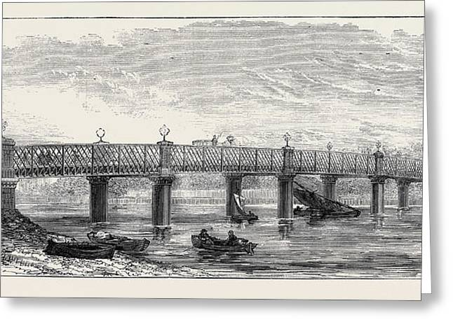 New Bridge Over The Thames At Wandsworth 1874 Greeting Card by English School