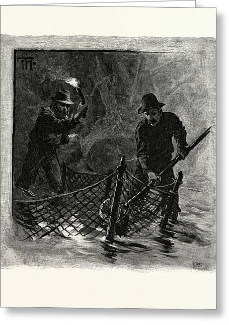 New Brunswick, Emptying Salmon Nets By Torchlight Greeting Card by Canadian School