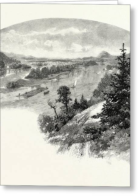 New Brunswick, Restigouche River, From Prospect Hill Greeting Card by Canadian School