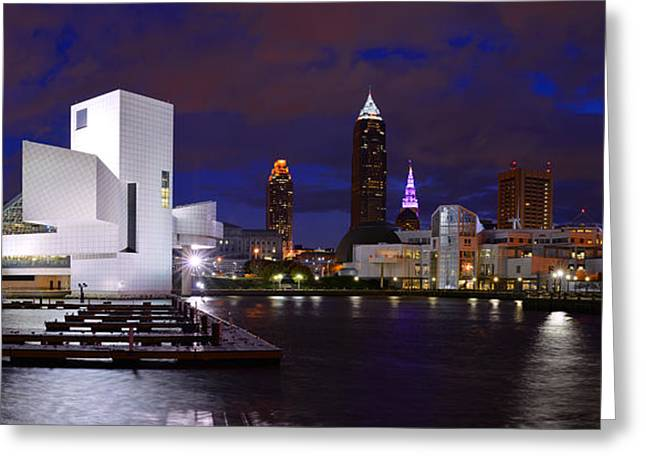 New Cleveland Waterfront With Storm Clouds Greeting Card