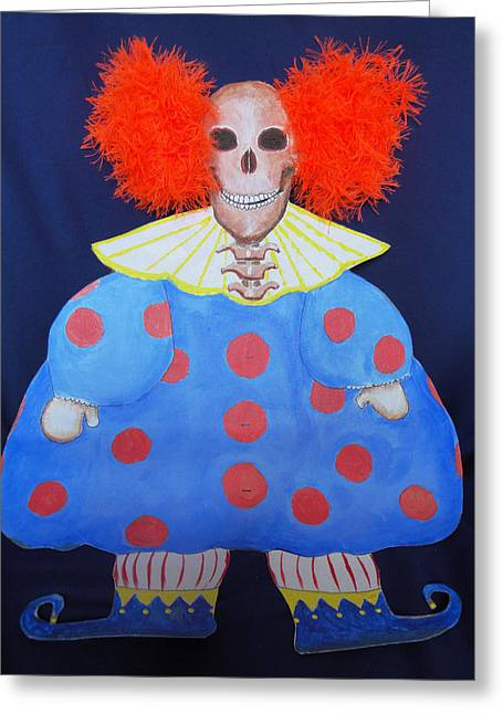 New Clown On The Block Greeting Card by Sandra Lewis