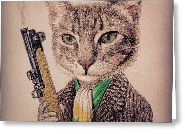 New Color Pencil Animal Cat Drawing Greeting Card by Wind Z