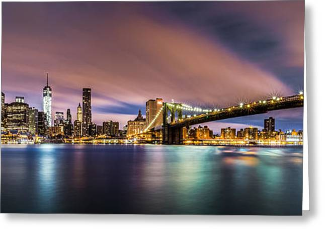 New Dawn Over New York Greeting Card by Mihai Andritoiu