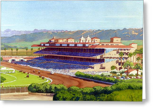Horse Racing Paintings Greeting Cards - New Del Mar Racetrack Greeting Card by Mary Helmreich
