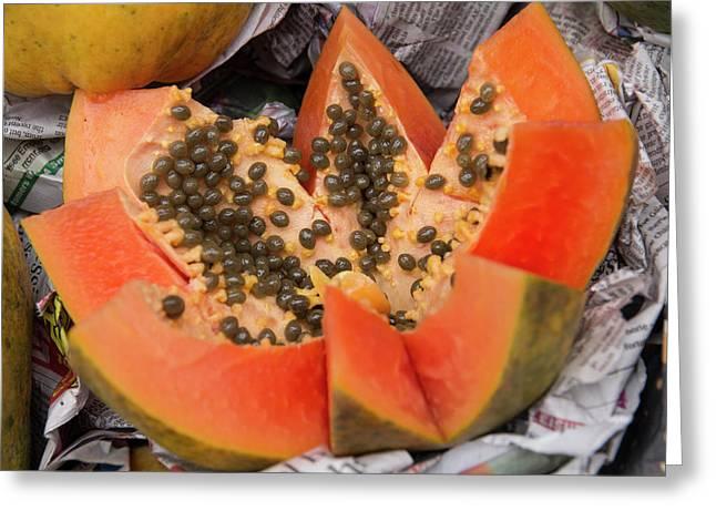 New Delhi, Street Market, Fresh Papaya Greeting Card