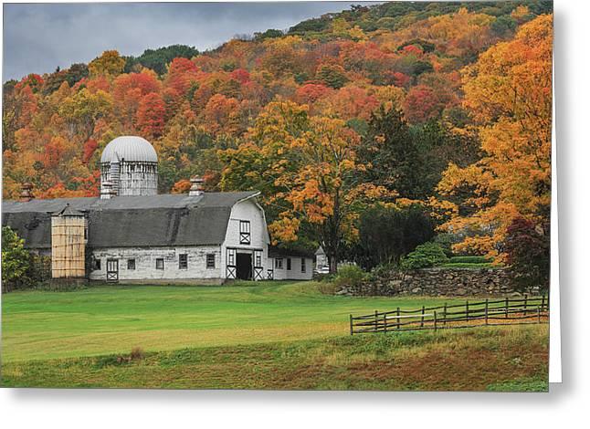 New England Barn Autumn Greeting Card by Bill Wakeley