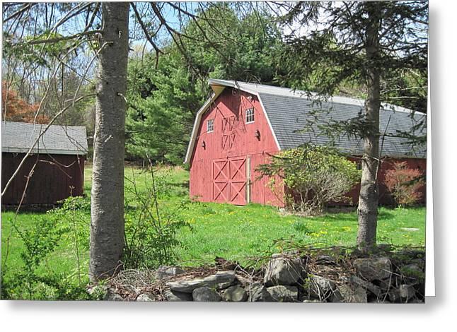 New England Barn Greeting Card by Marjorie Tietjen